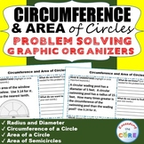 CIRCUMFERENCE and AREA of CIRCLES Word Problems with Graphic Organizer