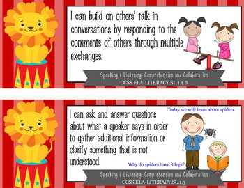 """CIRCUS - 1st Grade Common Core Standards """"I CAN"""" format / posters"""