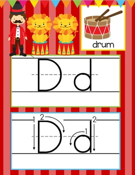 CIRCUS - Alphabet Cards, Handwriting, ABC Flash Cards, ABC print with pictures