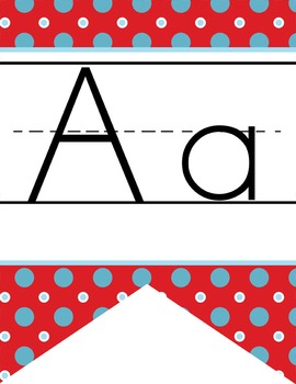 CIRCUS - Alphabet Flag Banner, handwriting, A to Z, ABC print font  / red