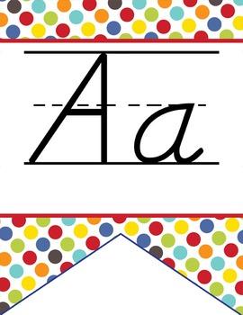 CIRCUS - Alphabet Flag Banner, handwriting, A to Z, D'Nealian manuscript