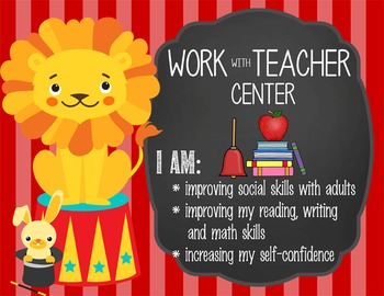 CIRCUS - Classroom Decor: Center Signs, student cards