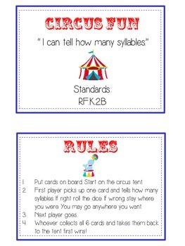 CIRCUS FUN Syllables - ELA First Grade Folder Game - Word Work Center