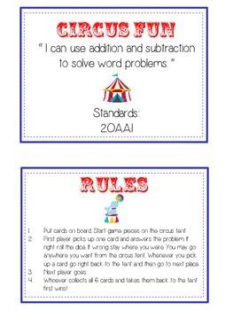 CIRCUS FUN - Word Problems Adding & Subtracting - Math Folder Game