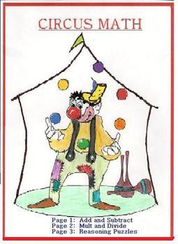 """""""CIRCUS MATH"""" 5pp! Add/Subtract,Mult/Div,PuzzlePage,ColorP"""