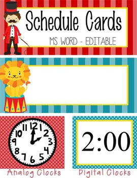 CIRCUS - Schedule Cards / editable MS WORD
