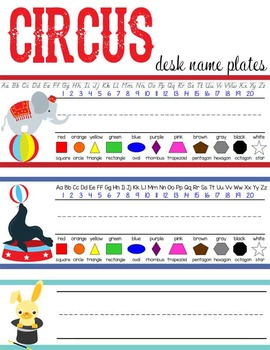 CIRCUS - Student desk nameplates, you personalize