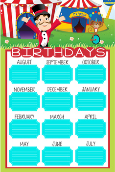 CIRCUS theme - Classroom Decor: Happy Birthday - size 24 x 36 poster