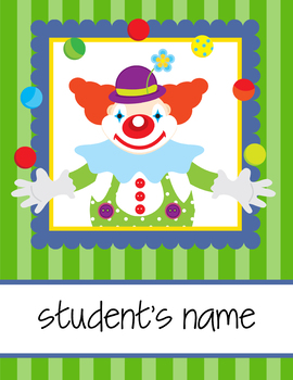 CIRCUS theme - Classroom Decor : Student FOLDER Cover - FREE