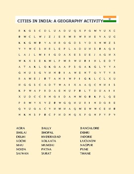 CITIES IN INDIA: A GEOGRAPHY ACTIVITY