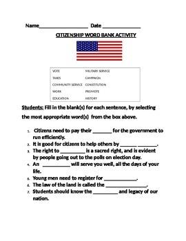 CITIZENSHIP WORD BANK ACTIVITY