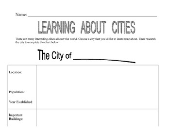CITY PreWrite Chart for Expository Writing - For Library R