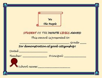CIVICS AWARD  FOR STUDENTS