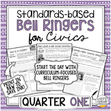 Standards-Based Bell Ringers for Civics & American Government | Quarter One