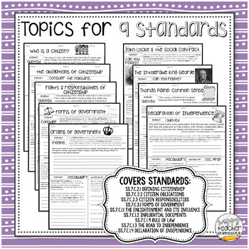 Standards-Based Bell Ringers for Civics & American Government | Quarter One