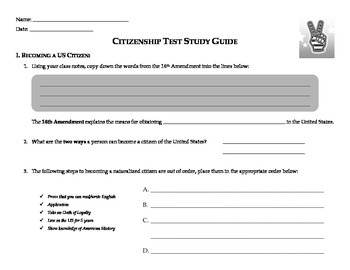 CIVICS - Citizenship Study Guide