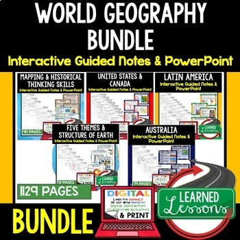 WORLD GEOGRAPHY Notes and PowerPoints BUNDLE, PRINT & DIGITAL, GOOGLE