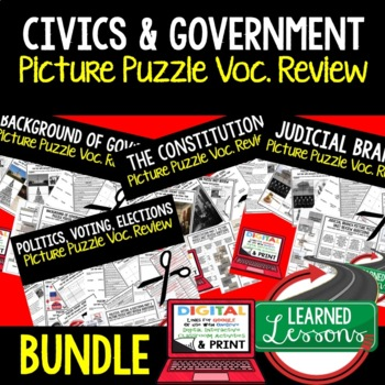 CIVICS Picture Puzzle Unit Review, Study Guide, Test Prep BUNDLE (Government)