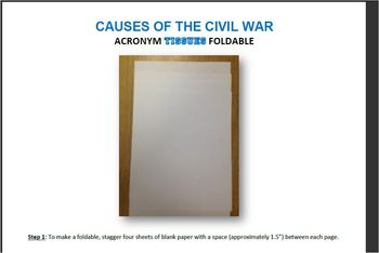 "CIVIL WAR Activity Foldable: ""TISSUES"" Causes of the Civil War"