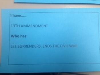 GAME: CHAIN CARDS-CIVIL WAR