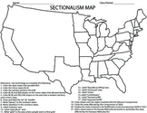 CIVIL WAR-Sectionalism Map Homework/Activity/Printable
