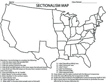 civil warsectionalism map homeworkactivityprintable by