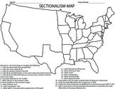 CIVIL WAR-Sectionalism Map Homework/Activity/Printable