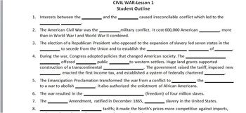 CIVIL WAR:Lesson 1: Student Outline & Key/worksheet/printable/handout