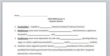 CIVIL WAR:Lesson 2: Student Outline & Key/worksheet/printable/handout