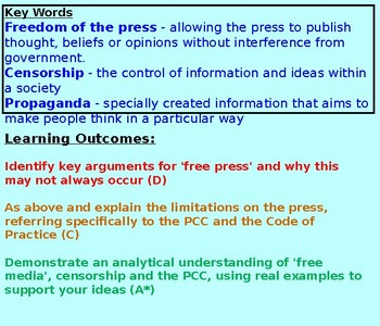 CItizenship GCSE: Free Press