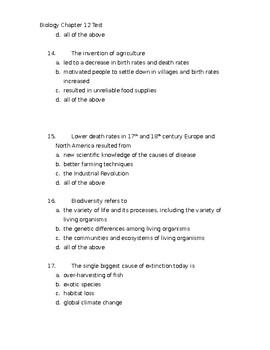 CK-12 Biology Chapter 12 Test Communities & Populations