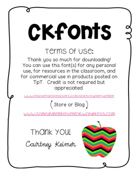 CK Green & Tall Font for Classroom and Commercial Use