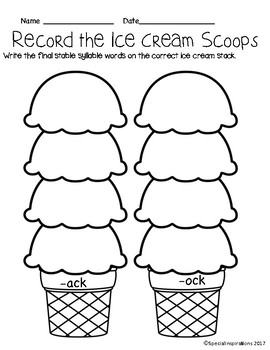 CK Ice Cream Stacks Literacy Centers