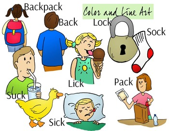 CK Sounds Phonics Clip Art Set - Color and Line Art 18 pc set