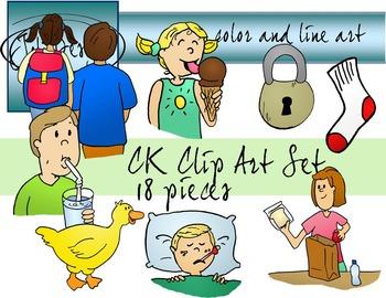 CK Sounds Phonics Clip Art Set - Color and Line Art 18 pc set