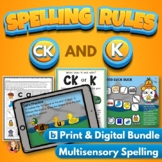 CK and K Spelling Rule Bundle with Digital Task Cards