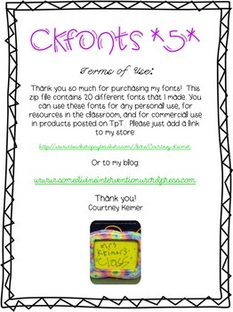 CKFonts {Set 5} 20 New Sweet Fonts for Teachers (Commercial Use)