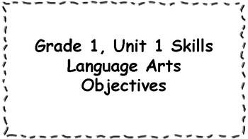 CKLA 1st Grade Skills: Unit 1 Objectives