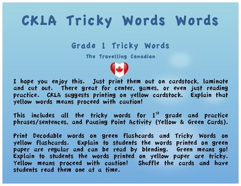 CKLA 1st Grade Unit 1 Tricky Words Flash Cards (Pausing Point)