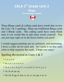 CKLA 1st Grade Unit 2 Bingo EDITABLE