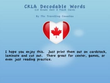 CKLA 1st Grade Unit 2 Decodable Words Flash Cards