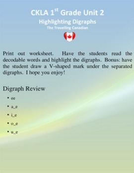 CKLA 1st Grade Unit 2 Highlighting My Digraphs
