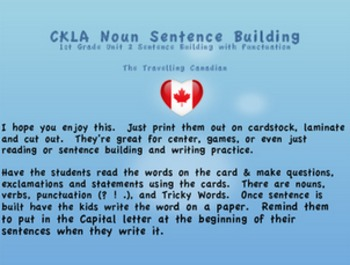 CKLA 1st Grade Unit 2 Sentence Building with Punctuation