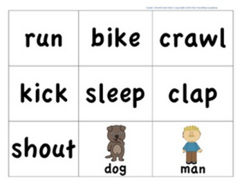 CKLA 1st Grade Unit 3 Nouns vs. Verbs Word Sort