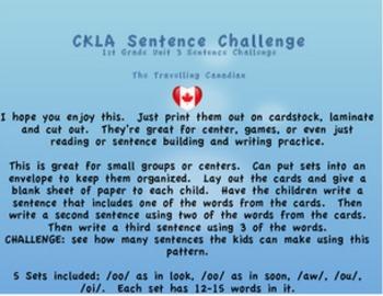 CKLA 1st Grade Unit 3 Sentence Challange