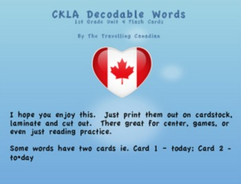 CKLA 1st Grade Unit 4 Decodable Words Flash Cards