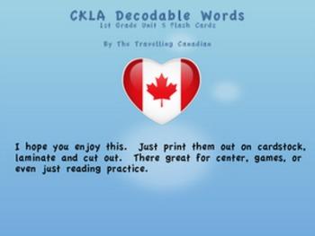 CKLA 1st Grade Unit 5 Decodable Words Flash Cards
