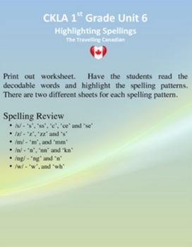 CKLA 1st Grade Unit 6 Highlight the Spelling
