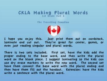 CKLA 1st Grade Unit 6 Making Plural Words