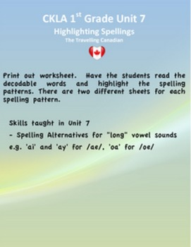 CKLA 1st Grade Unit 7 Highlight the Spelling